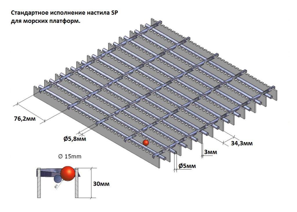 Сварной настил для морских платформ SP