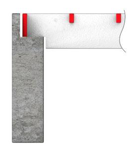 Специальная выпиловка углов несущих полос и окантовки по краю в районе опор.